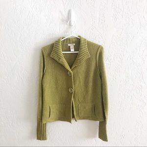 Sundance Button Front Cardigan Sweater Rib Trim